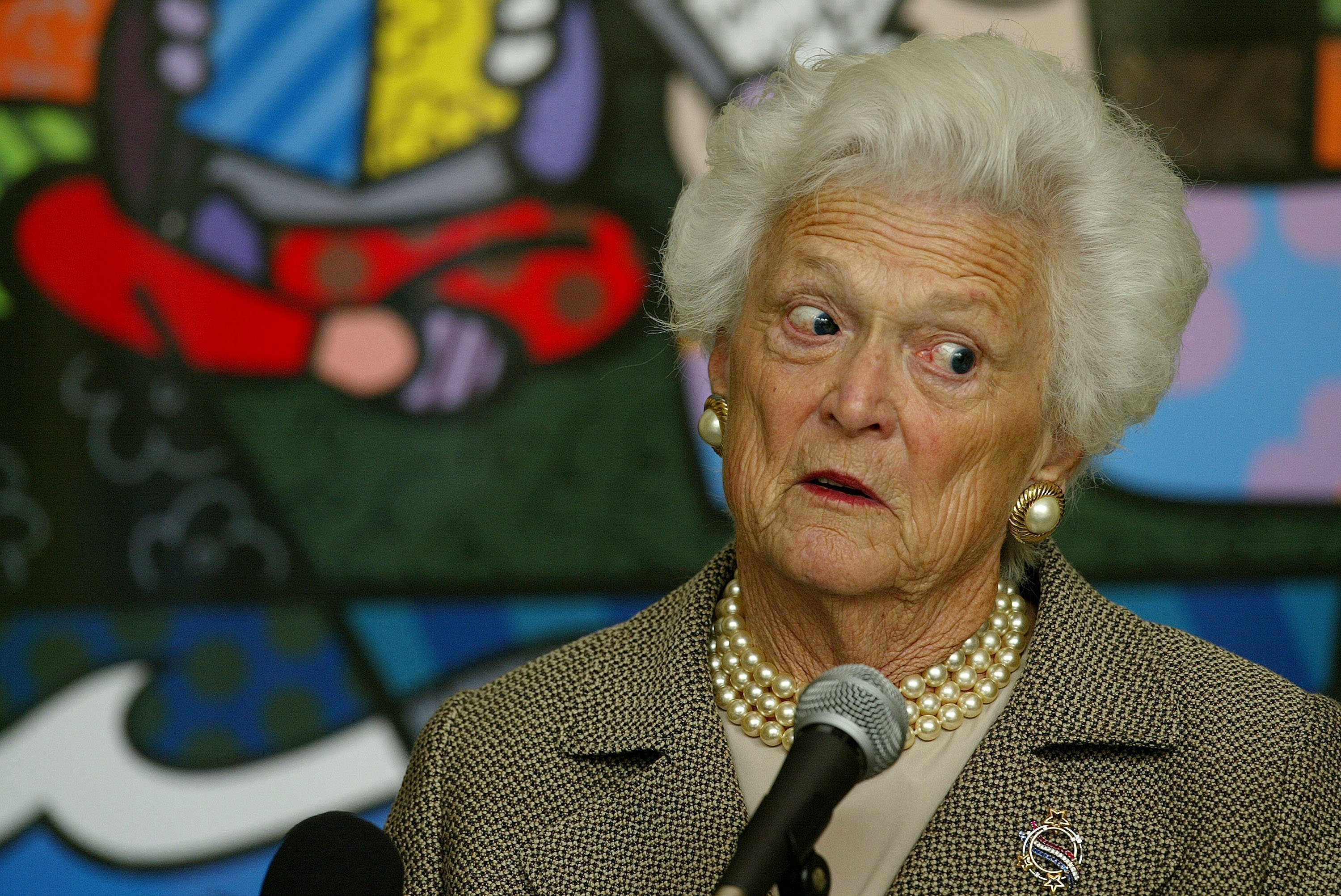 """Barbara Bush talking about her book, """"Reflections: Life After the White House,"""" at the Miami Book Fair International 