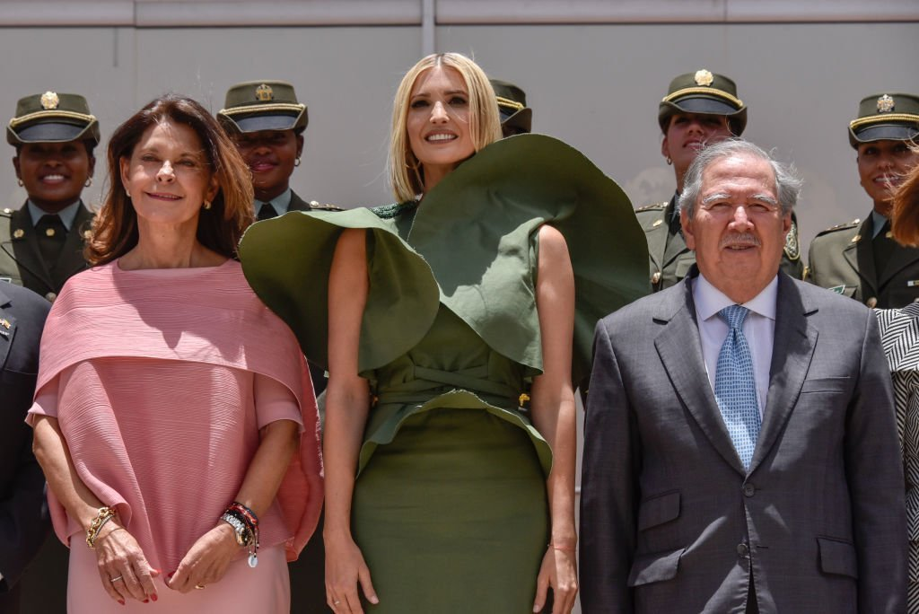 Ivanka Trump poses for a photo with Vice President of Colombia Marta Lucia Ramirez and Guillermo Botero. | Source: Getty Images