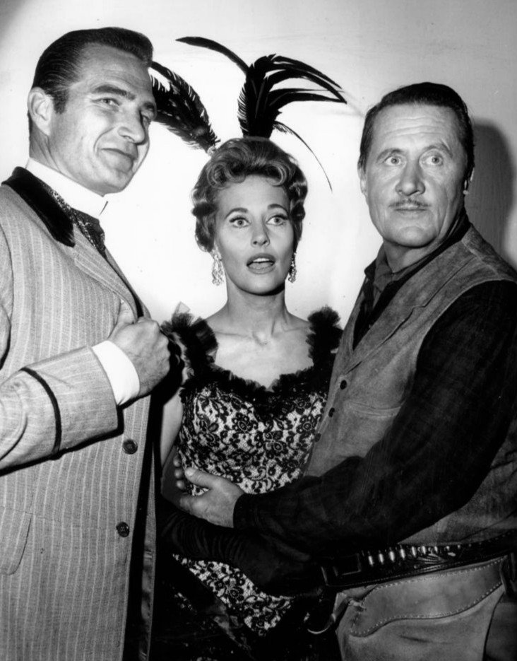 """Photo of Eric Fleming, Lola Albright, and Allyn Joslyn from the television program """"Rawhide,"""" circa 1950s. 