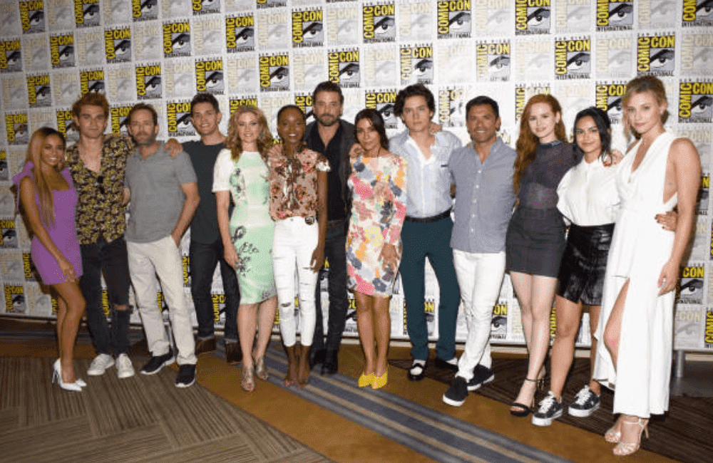 "The cast of ""Riverdale"" pose together during the press line for Comic-Con International, at the Hilton Bayfront, on July 21, 2018, in San Diego, California 