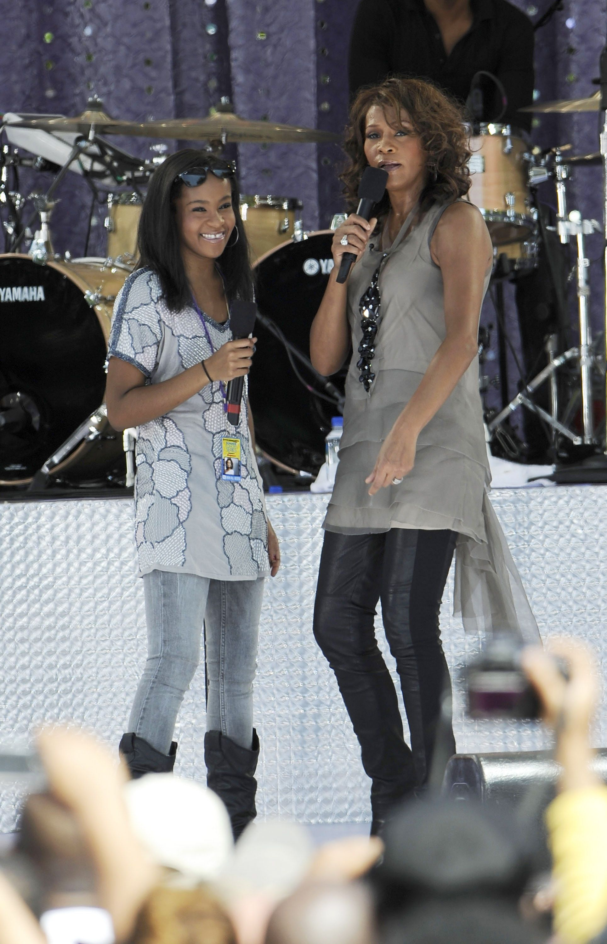 "Bobbi Kristina Brown and Whitney Houston perform on ABC's ""Good Morning America."" 