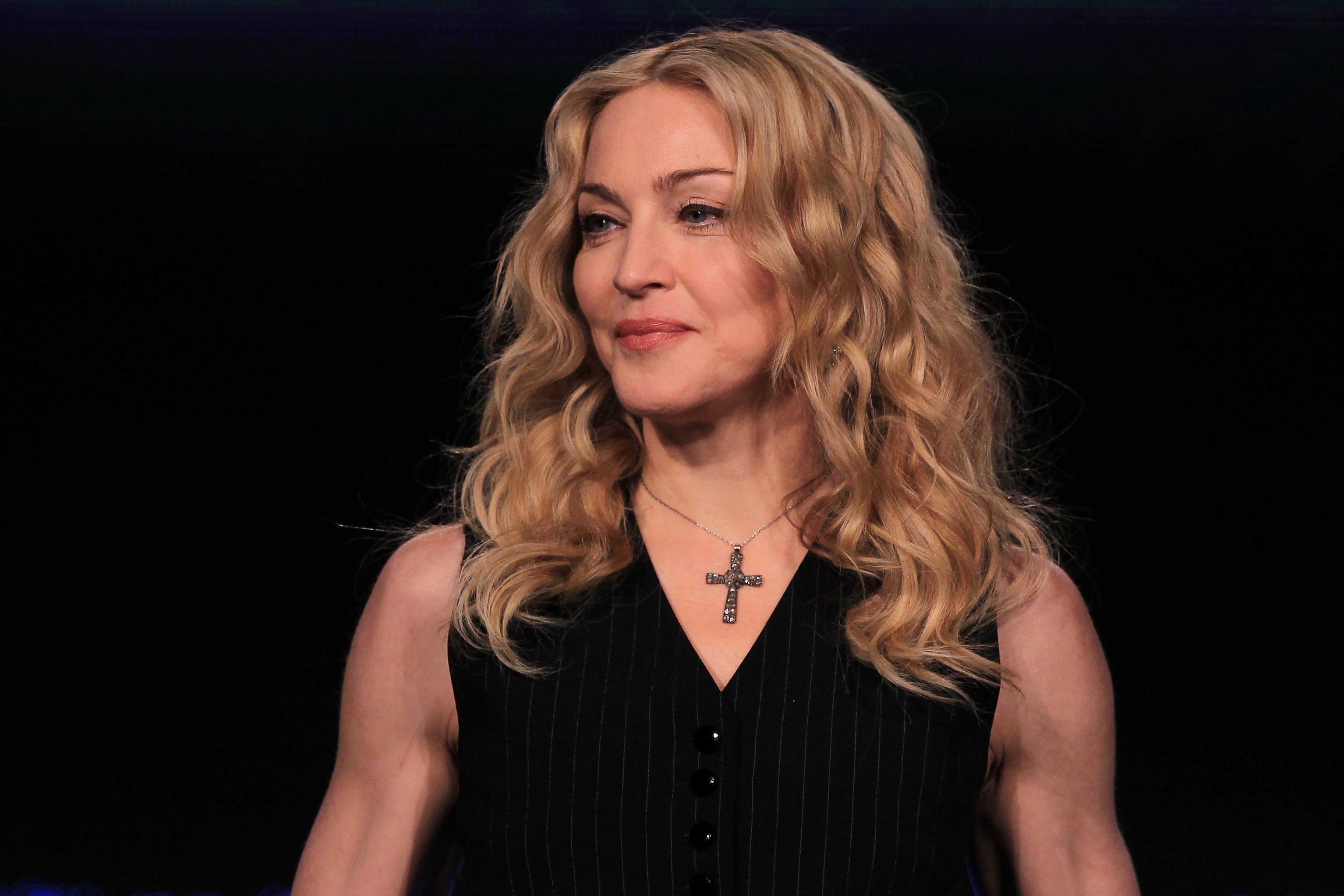 Madonna during a press conference for the Bridgestone Super Bowl XLVI halftime show at the Super Bowl XLVI Media Center on February 2, 2012. | Photo: GettyImages