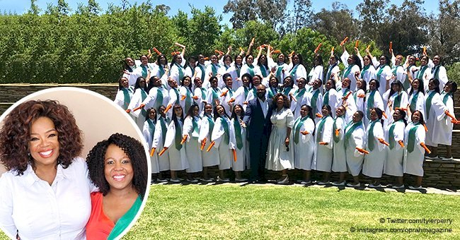 Oprah stuns in long white dress in recent picture with Tyler Perry at Leadership Academy graduation