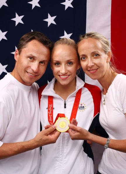 Nastia Liukin, Valeri Liukin and Anna Liukin at the Beijing 2008 Olympic Games on August 15, 2008 in Beijing, China. | Photo: Getty Images