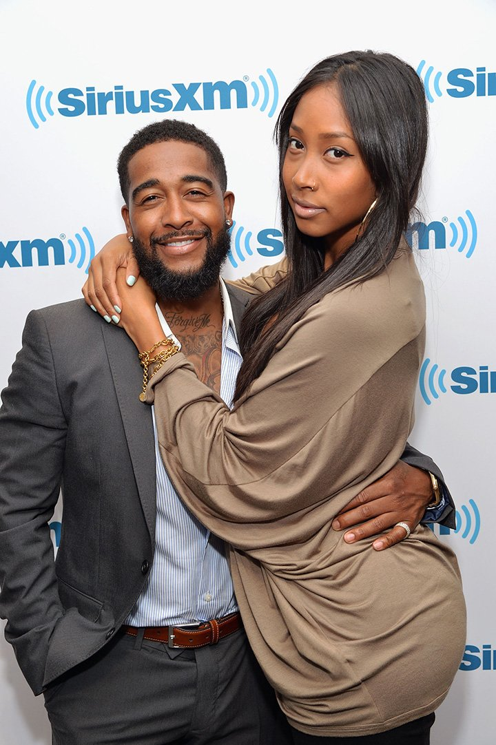 Omarion and then-girlfriend Apryl Jones visit SiriusXM Studios on May 1, 2014 in New York City. I Image: Getty Images.