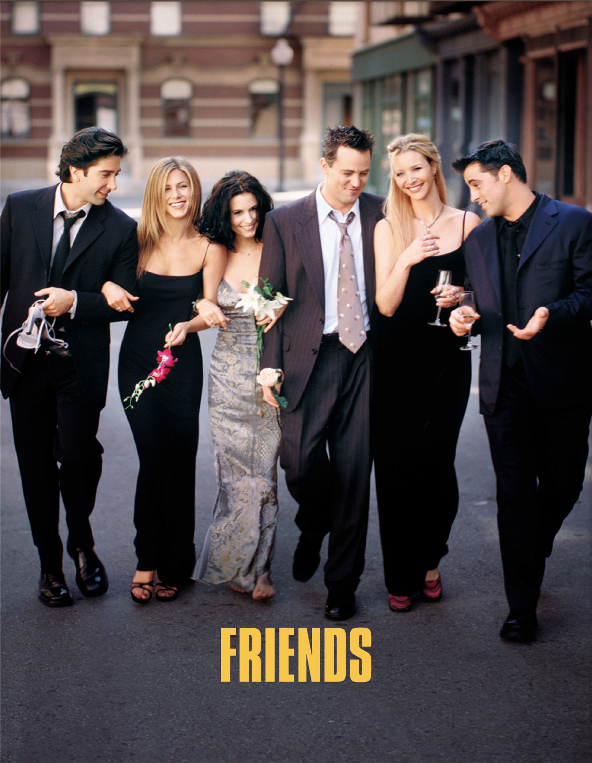 "Cast Members of ""Friends."" Pictured (L to R): David Schwimmer, Jennifer Aniston, Courteney Cox, Matthew Perry, Lisa Kudrow, and Matt Leblanc. 