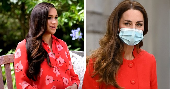 Meghan Markle Accused of Copying Kate's Signature Red Color after Donning $1,690 Poppy-Print Dress