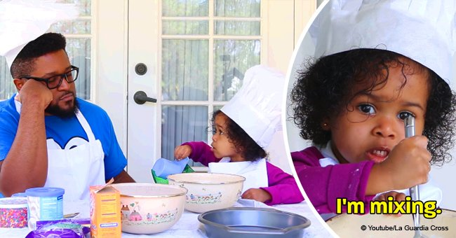 Persistent father hilariously tries to bake a cake with his daughter in viral video