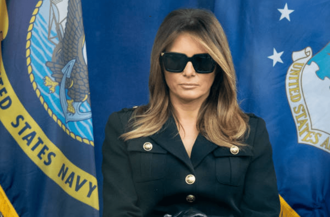 Melania Trump looks on to the audience while sitting on stage during President Donald J. Trumps address at the 100th annual Veterans Day Parade, on November 11, 2019, New York | Source: Ira L. Black/Corbis via Getty Images