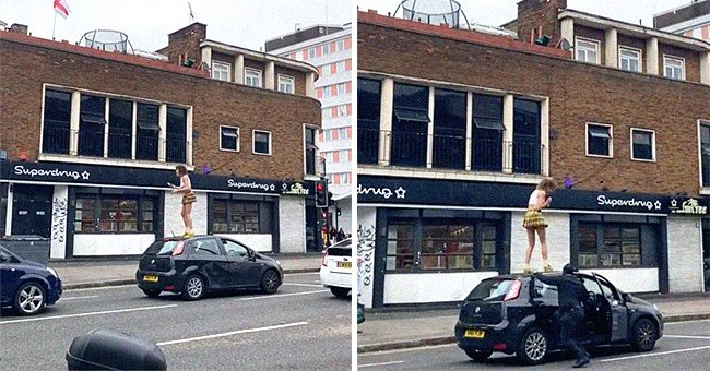 A woman standing on a vehicle's roof [left]; The owner of the vehicle getting out the car to confront her [right].   Source: twitter.com/AminNumeroUno