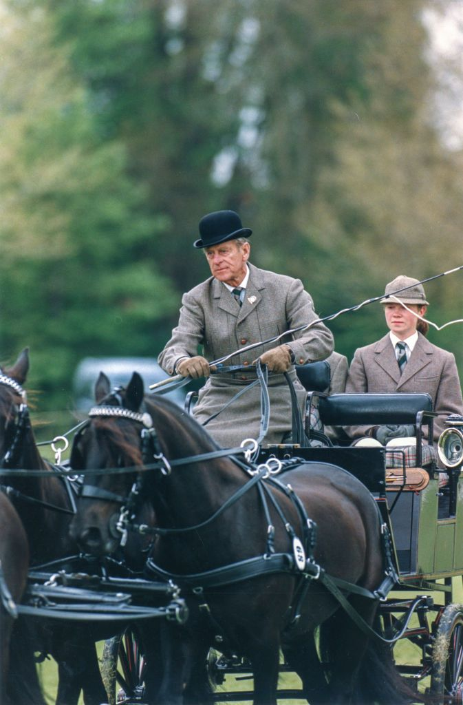 Prince Philip in a horse-drawn carriage at an equestrian event in Windsor in 1996 | Source: Getty Images