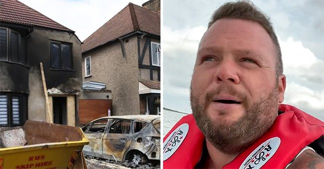 TikToker's home was destroyed by a petrol bomb and he allegedly used the GoFundMe donations to buy a jet-ski and now smugly laughs in the face of his viewers   Photo: Tiktok/thesmithyfamily & Twitter/dailystar
