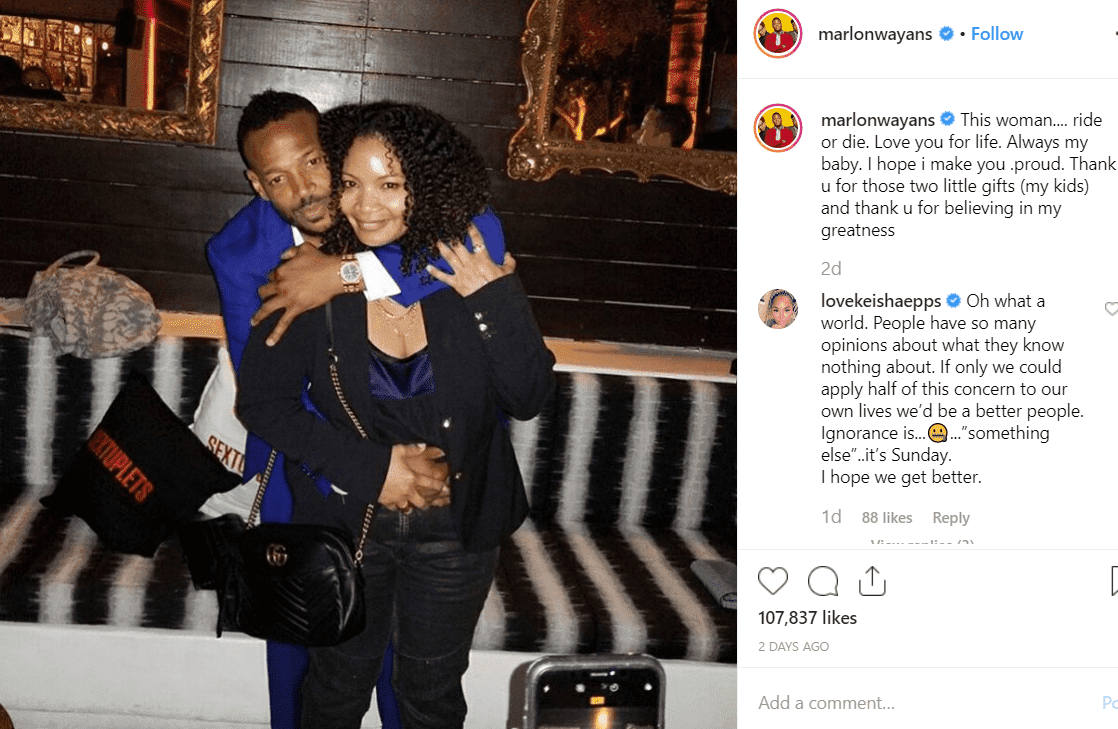 Screenshot of the image that had fans talking. |Photo: Instagram/Marlon Wayans