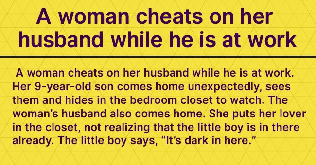 A woman cheats on her husband while he is at work