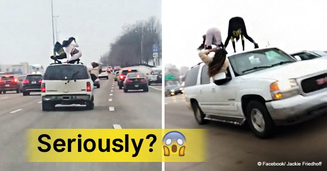 Rush-hour twerk: two women dance on the roof of a car while traveling down Missouri highway