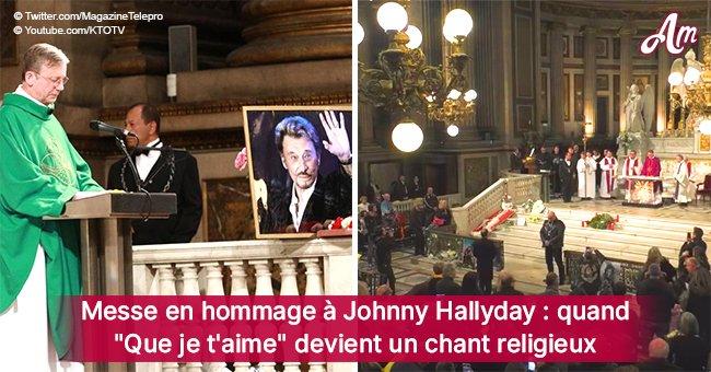 """""""Que je t'aime"""" chanté par toute l'Eglise de la Madeleine lors de la messe en hommage à Johnny"""