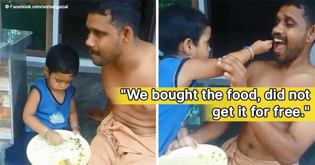 Little girl goes viral for feeding her dad & scolding him to finish his food in video