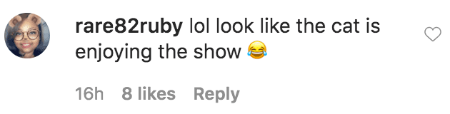 """A fan commented on a picture of Gabby Sidibe's boyfriend Brandon Frankel and cat Aaron watching the movie """"But I'm a Cheerleader"""" on television   Source: Instagram.com/gabby3shabby"""