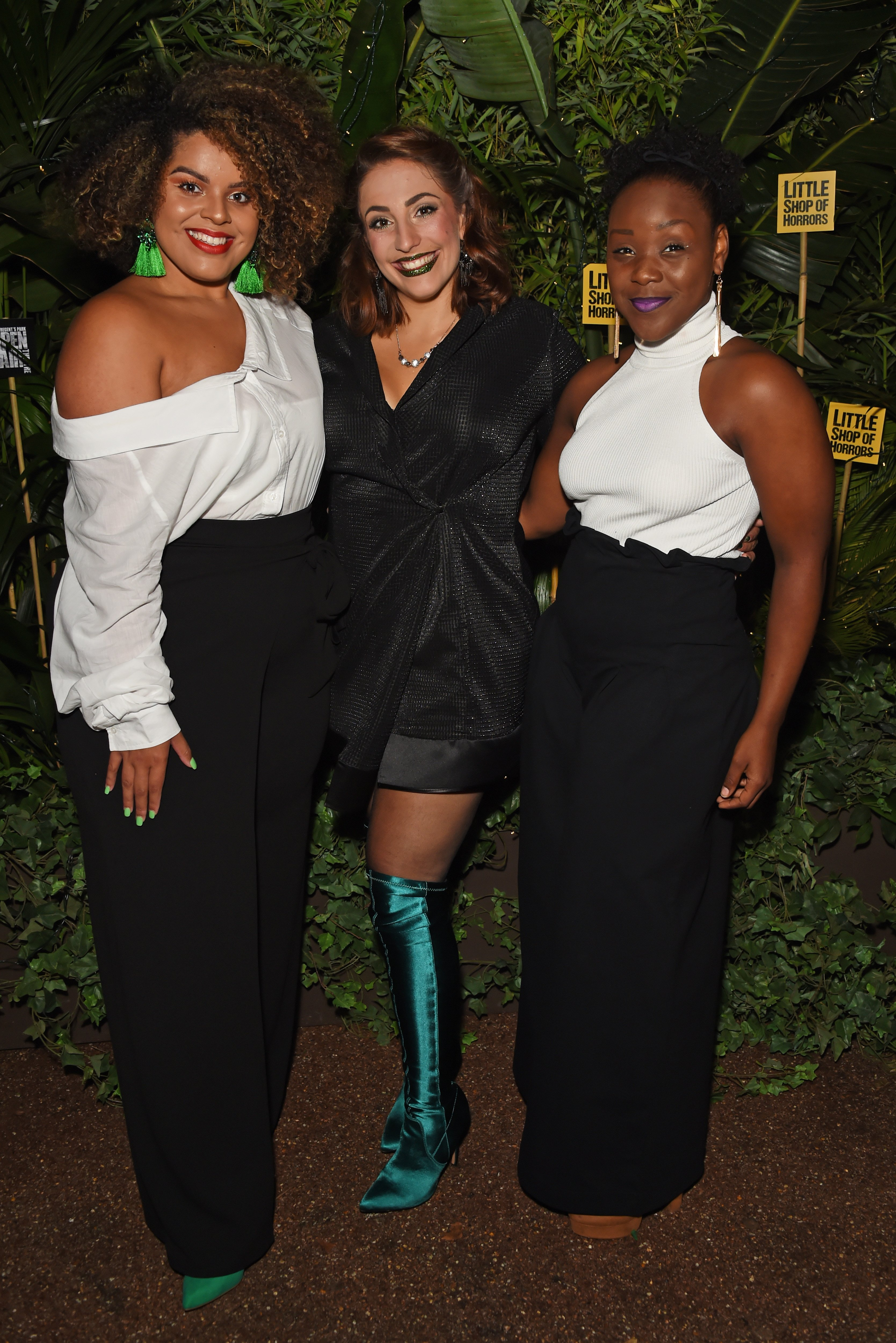 """Seyi Omooba (Right) with cast members at the press night after party for """"Little Shop Of Horrors"""" in London, England on Aug. 10, 2018 