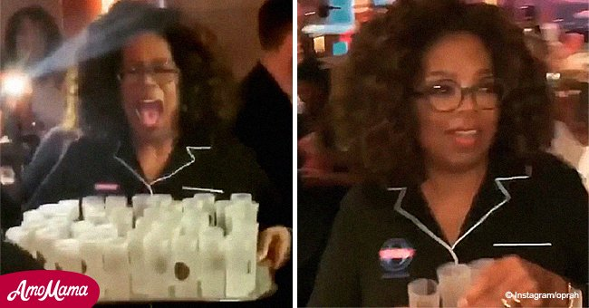 Oprah looks absolutely ecstatic in a naughty video from her birthday, serving tequila in pajamas