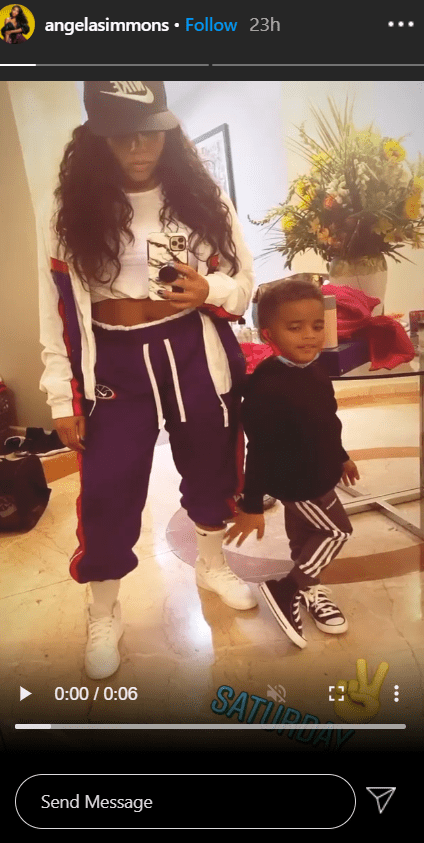 A mirror selfie of Angela Simmons and her son Sutton taking goofy selfie images. | Photo: Instagram/angelasimmons