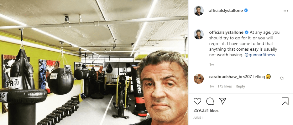 Stallone shared a selfie at the gym. | Photo: Instagram/officialslystallone/