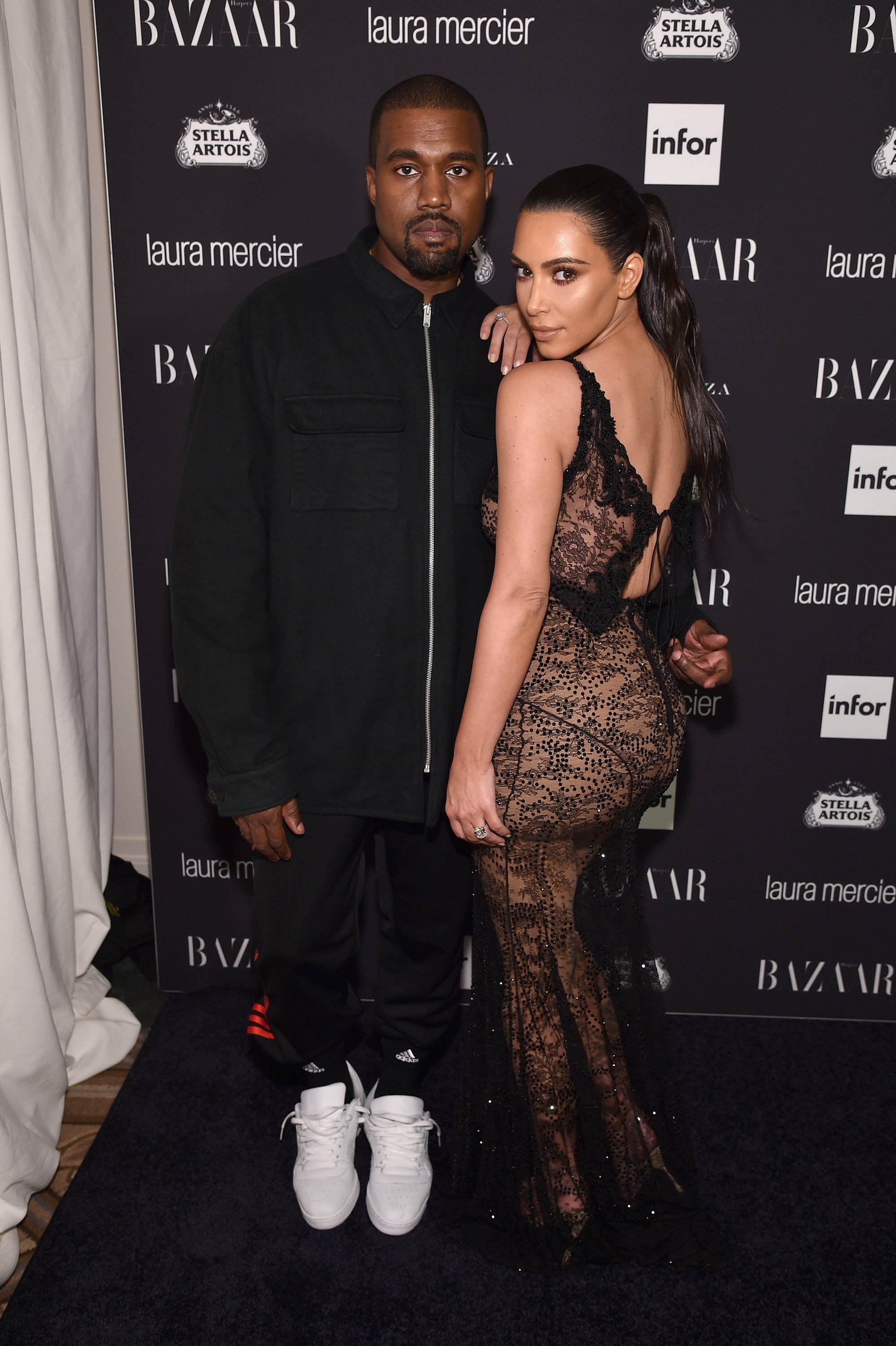 "Kanye West and Kim Kardashian West attend Harper's Bazaar's celebration of ""ICONS By Carine Roitfeld"" on September 9, 2016, in New York City. 