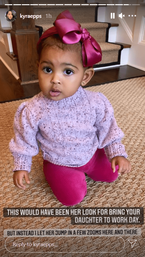 Screenshot of photo of Indiana Rose Epps dressed in a pink outfit shared by Kyra Robinson Epps.|Source: Instagram/kyraepps