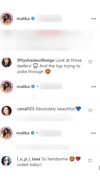 Screenshot showing comments on Malika Haqq's Insta post of baby Ace Flores   Source: Instagram/malika