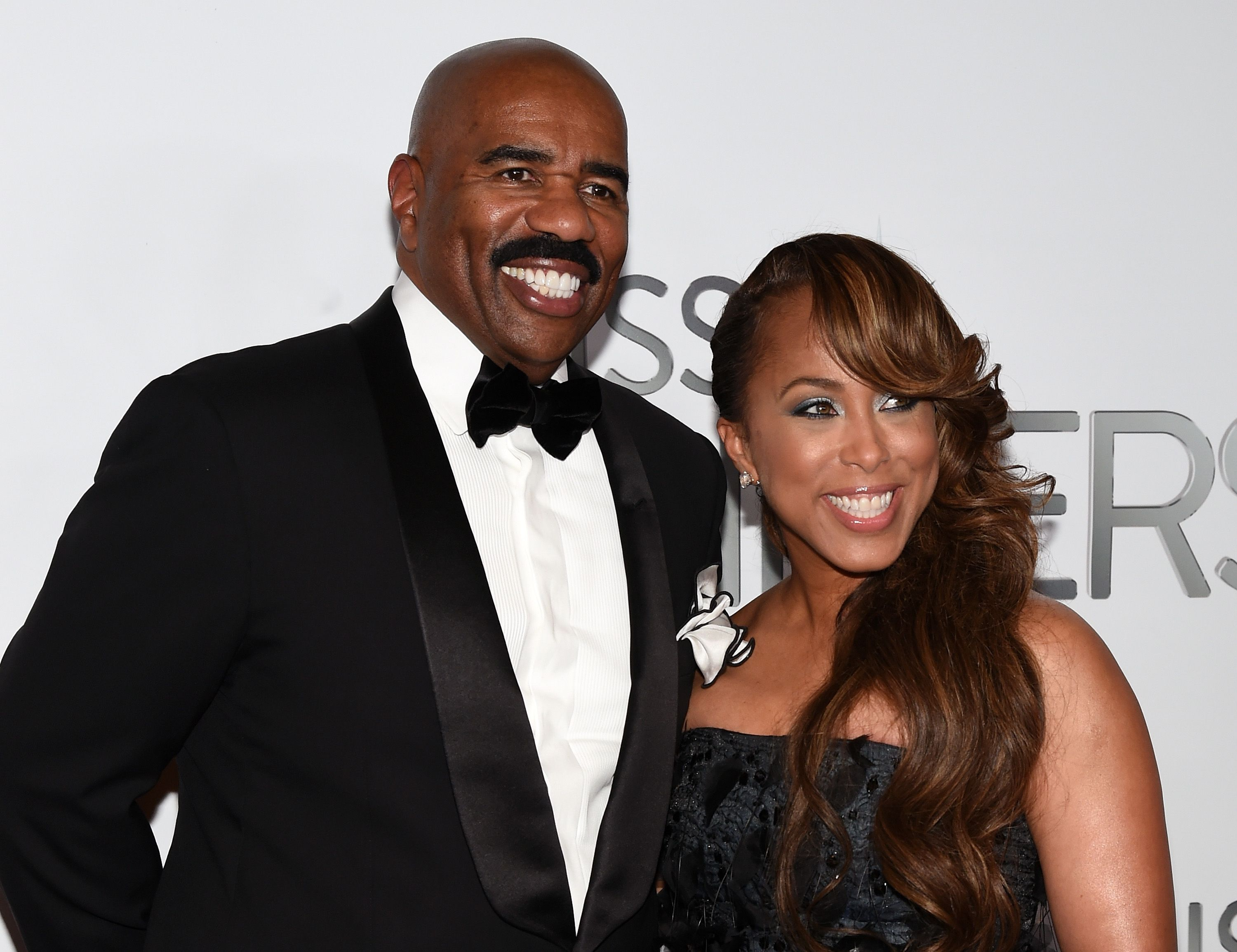 Steve Harvey and Marjorie Harvey during the 2015 Miss Universe Pageant at Planet Hollywood Resort & Casino on December 20, 2015 in Las Vegas, Nevada.   Source: Getty Images