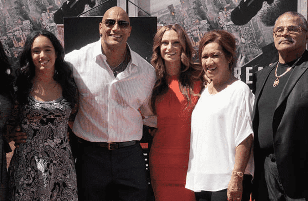 "Simone Alexandra Johnson, Dwayne ""The Rock"" Johnson, Lauren Hashian, Ata Johnson and Rocky Johnson stand togther at the Hand And Footprint Ceremony held at TCL Chinese Theatre IMAX, on May 19, 2015, in Hollywood, California 