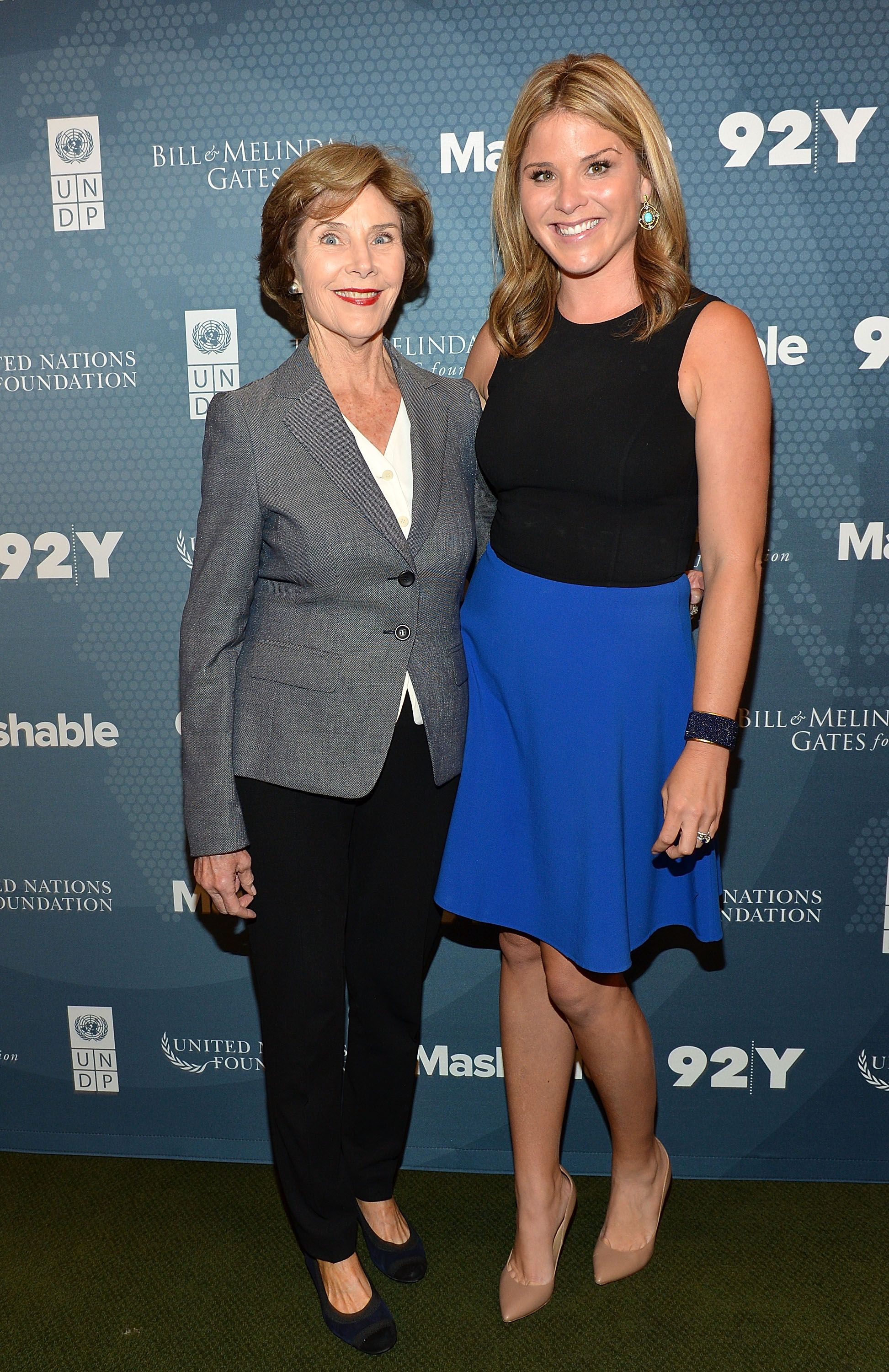 Laura Bush and daughter author Jenna Bush Hager attend the 2014 Social Good Summit in 2014. | Source: Slaven Vlasic/Getty Images