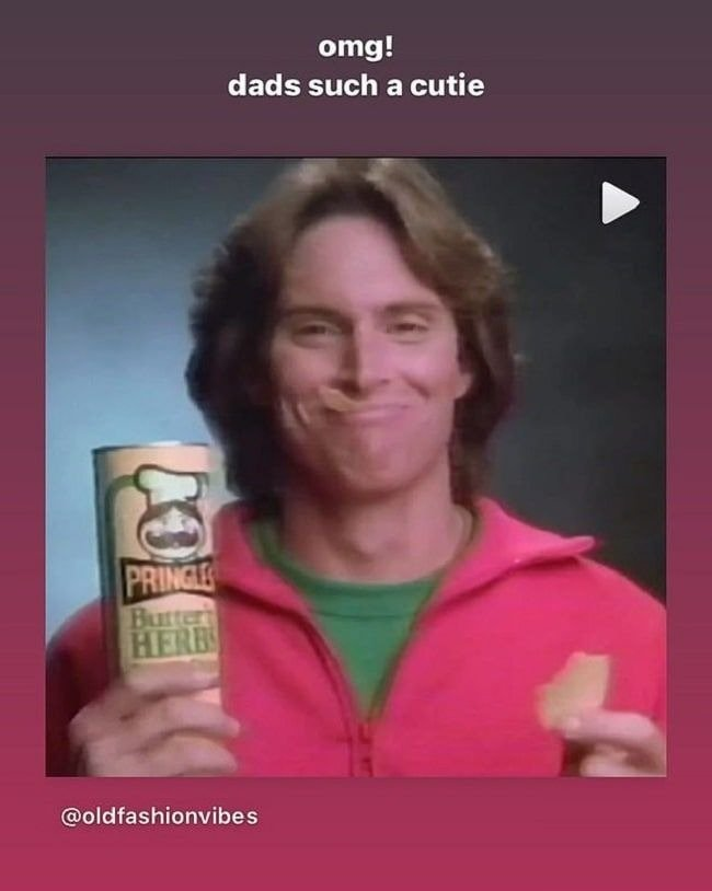 Kendall Jenner gushes over her father, Caitlyn Jenner being cute in the throwback Pringles commercial. | Source: Instagram/kendalljenner.