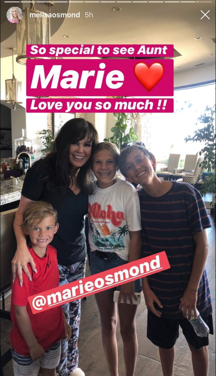 Melisa Osmond shared her happiness that aunt Marie Osmond joined them for the day to celebrate Jeremy Osmond's birthday, on June 8, 2020. | Source: Instagram/Stories/melisaosmond.