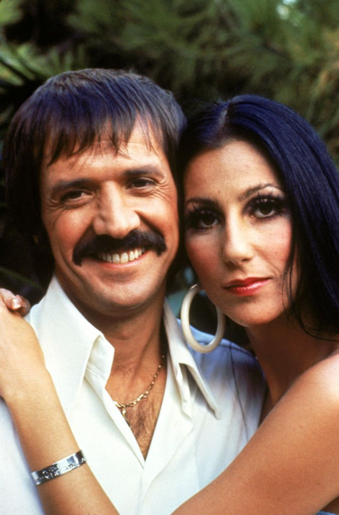 "Cher and Sonny Bono pose for a promotional photo for ""The Sonny and Cher Show"" circa 1968-1970. 