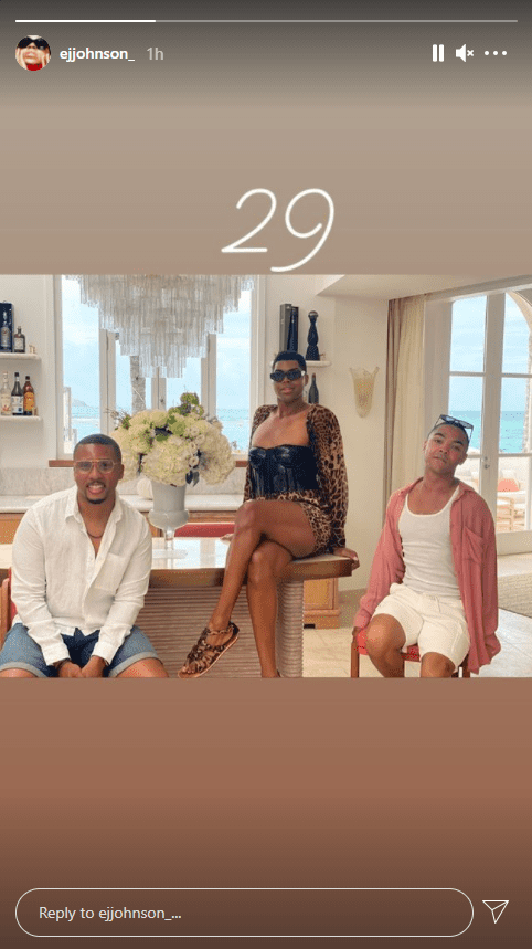 EJ Johnson flaunts legs in a leopard corset mini dress as he celebrates his 29th birthday with friends   Photo: ejjohnson_