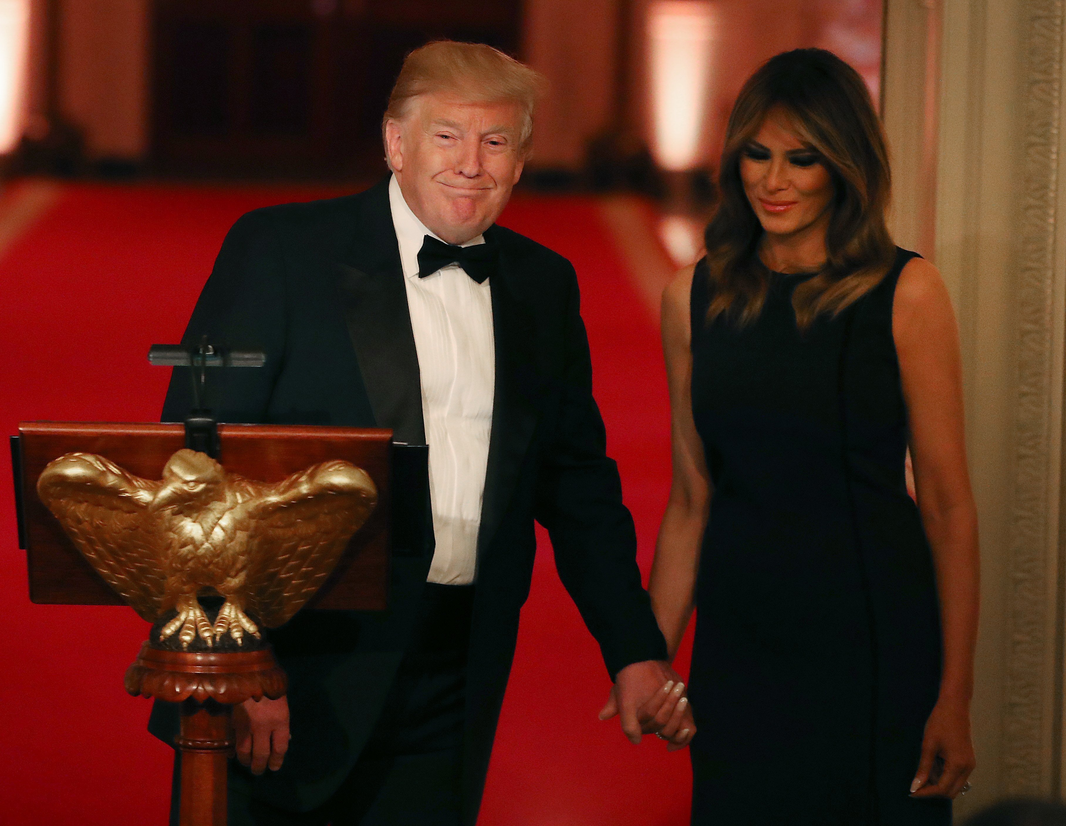 Donald Trump and Melania Trump at the White House Historical Association Dinner in the East Room of the White House | Photo: Getty Images