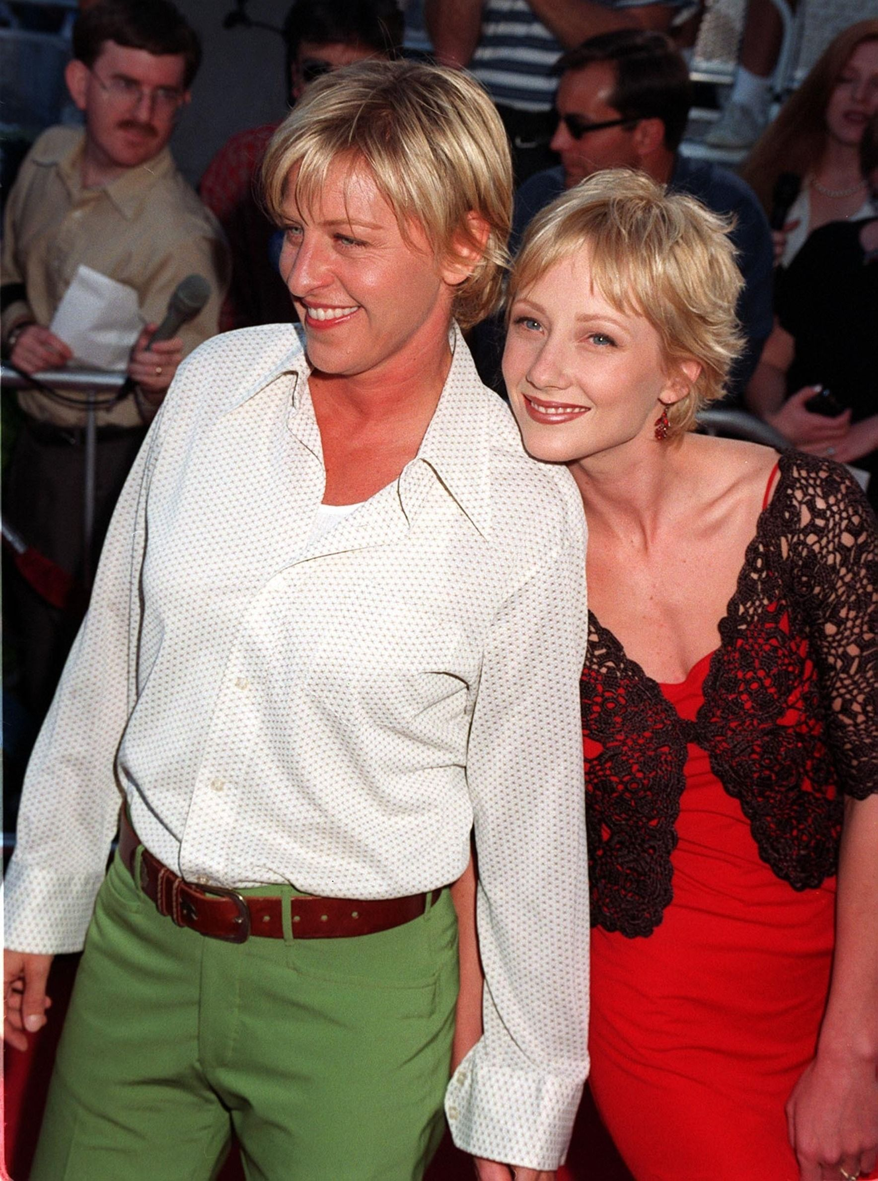 "Ellen DeGeneres and Anne Heche at the premiere of ""Contact"" in 1997