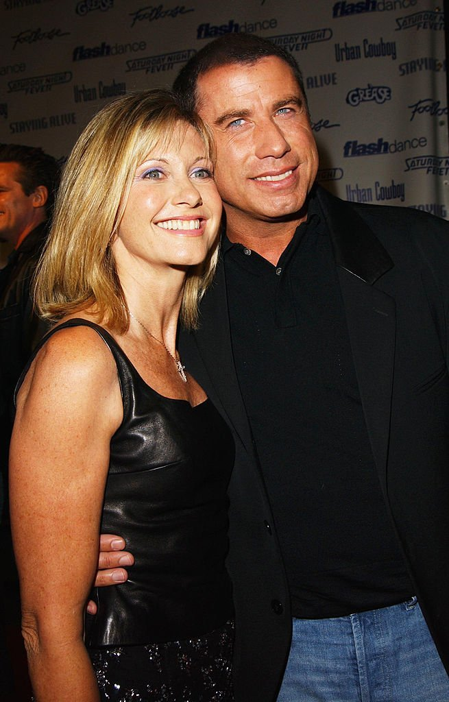 "Olivia Newton-John and actor John Travolta from the movie ""Grease"" attend the Celebration of Paramount Studio's 90th Anniversary with the release of six all-time musical favorites 