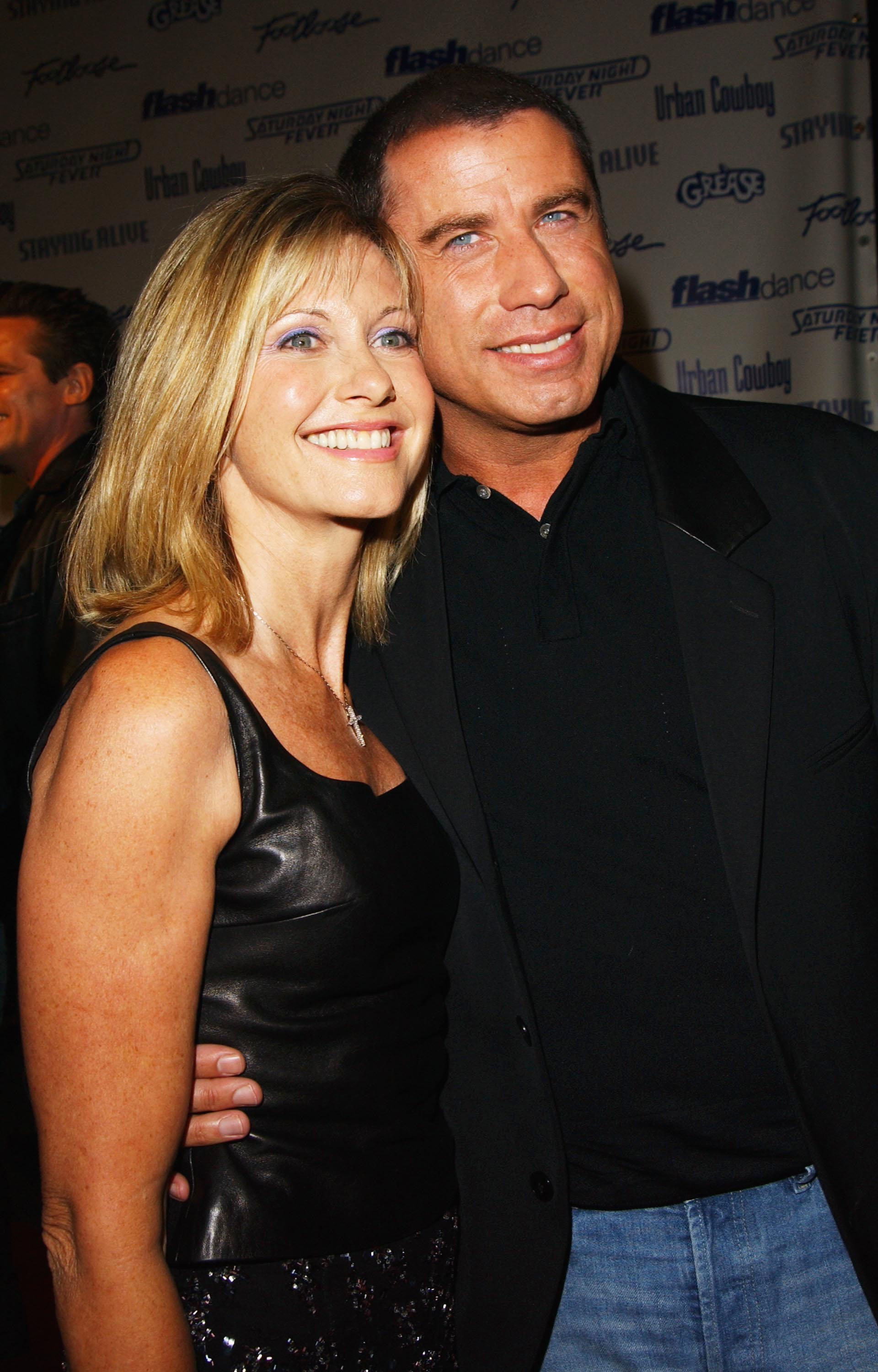 Olivia Newton-John and John Travolta on September 22, 2002, at Paramount Studios in Los Angeles, California. | Photo: Getty Images.
