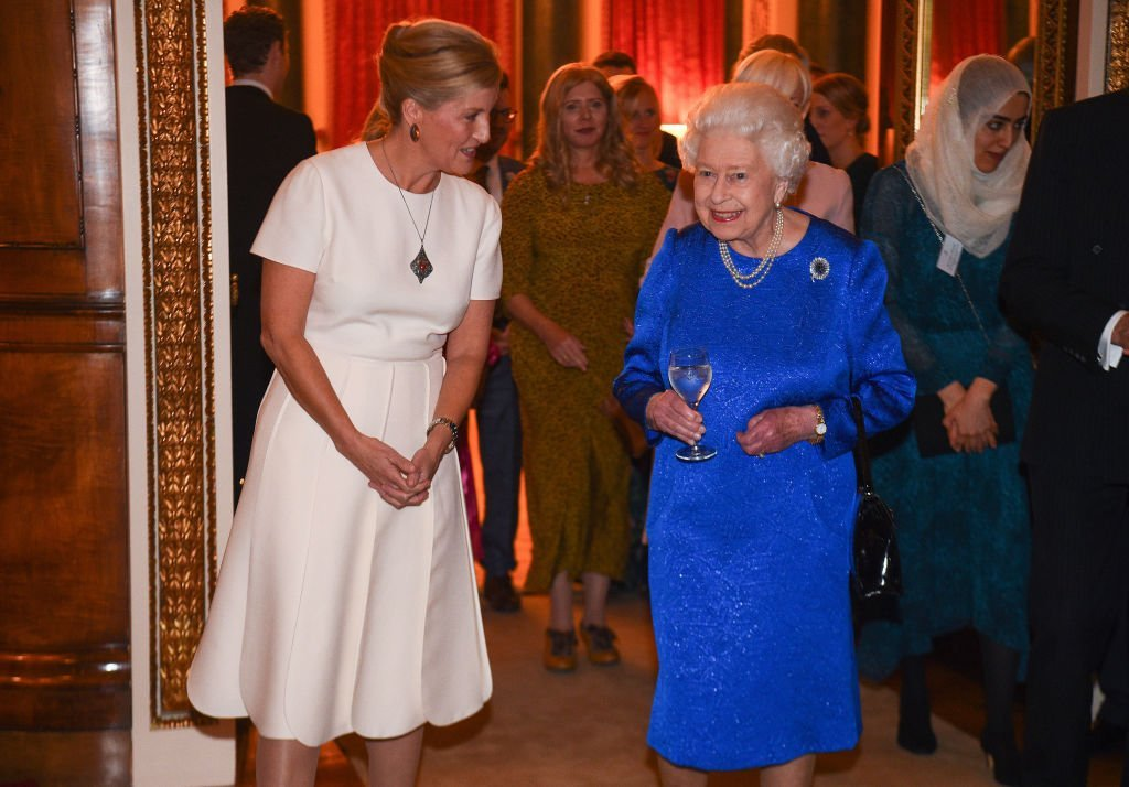 Queen Elizabeth II and Sophie, Countess of Wessex attend a reception to celebrate the work of the Queen Elizabeth Diamond Jubilee Trust at Buckingham Palace | Photo: Getty Images
