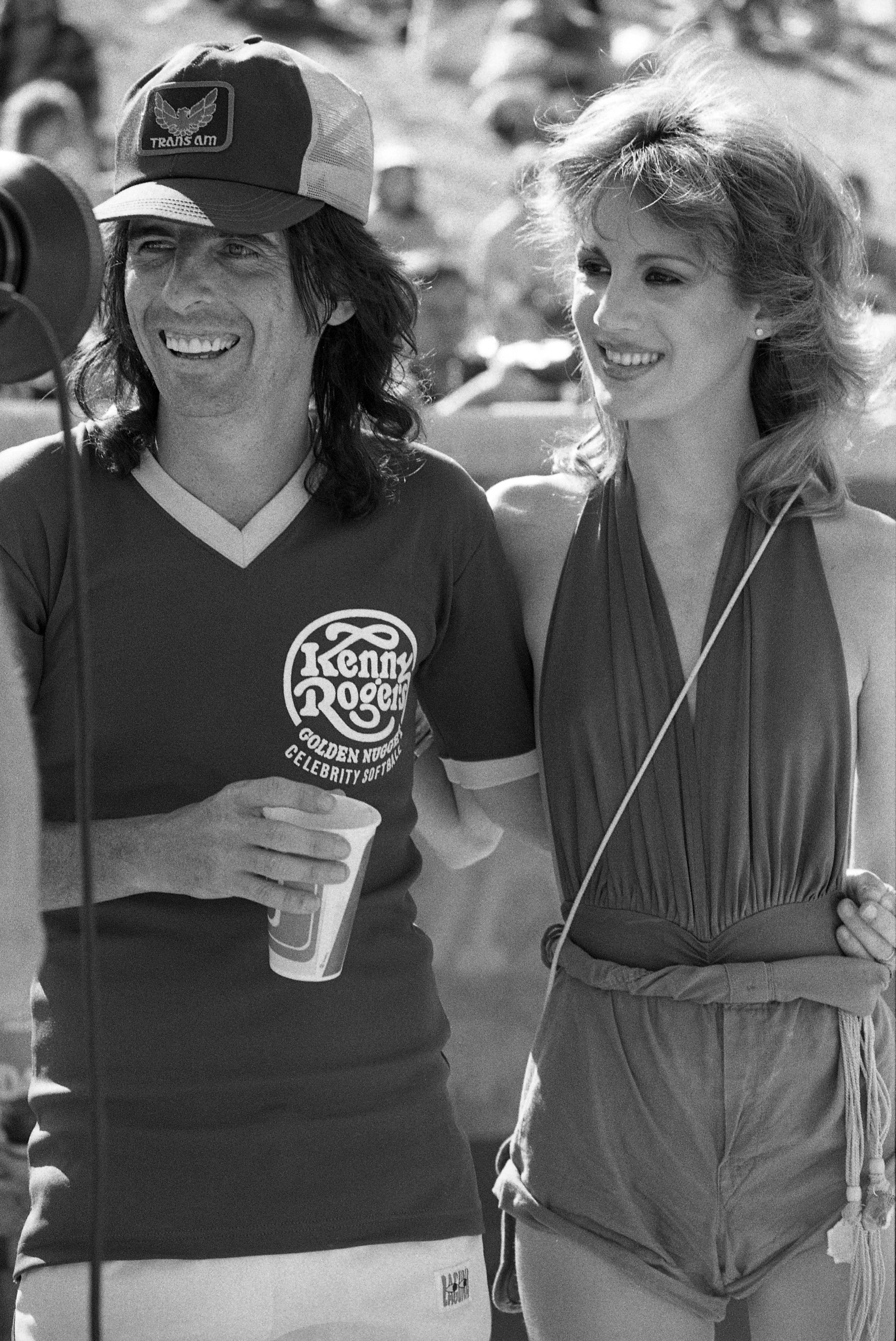 Alice Cooper and Sheryl Goddard at the Kenny Rogers Golden Nugget celebrity softball game in 1977 in Las Vegas, Nevada   Source: Getty Images
