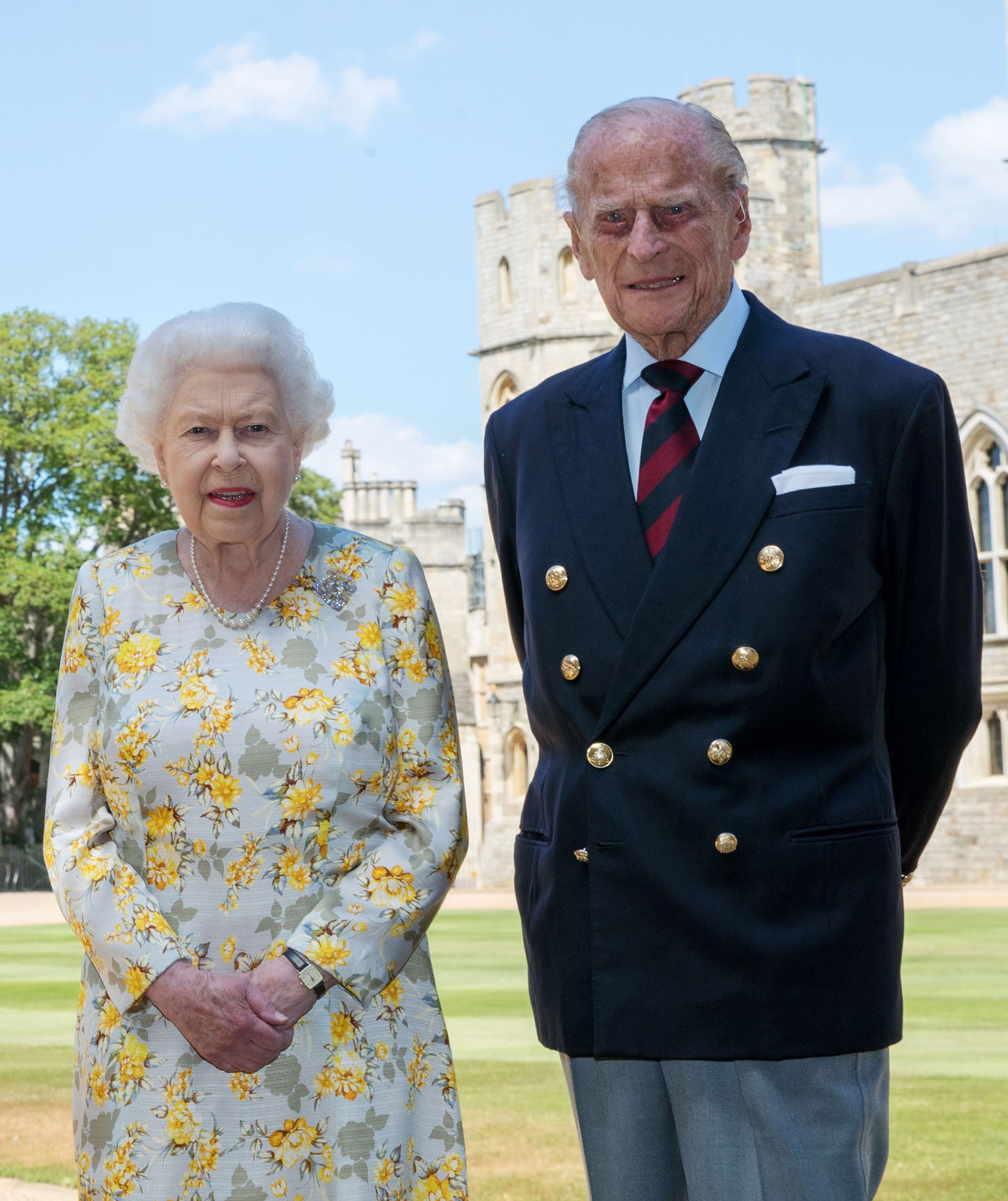 Queen Elizabth and Prince Philip in the quadrangle of Windsor Castle ahead of his 99th birthday. | Getty Images