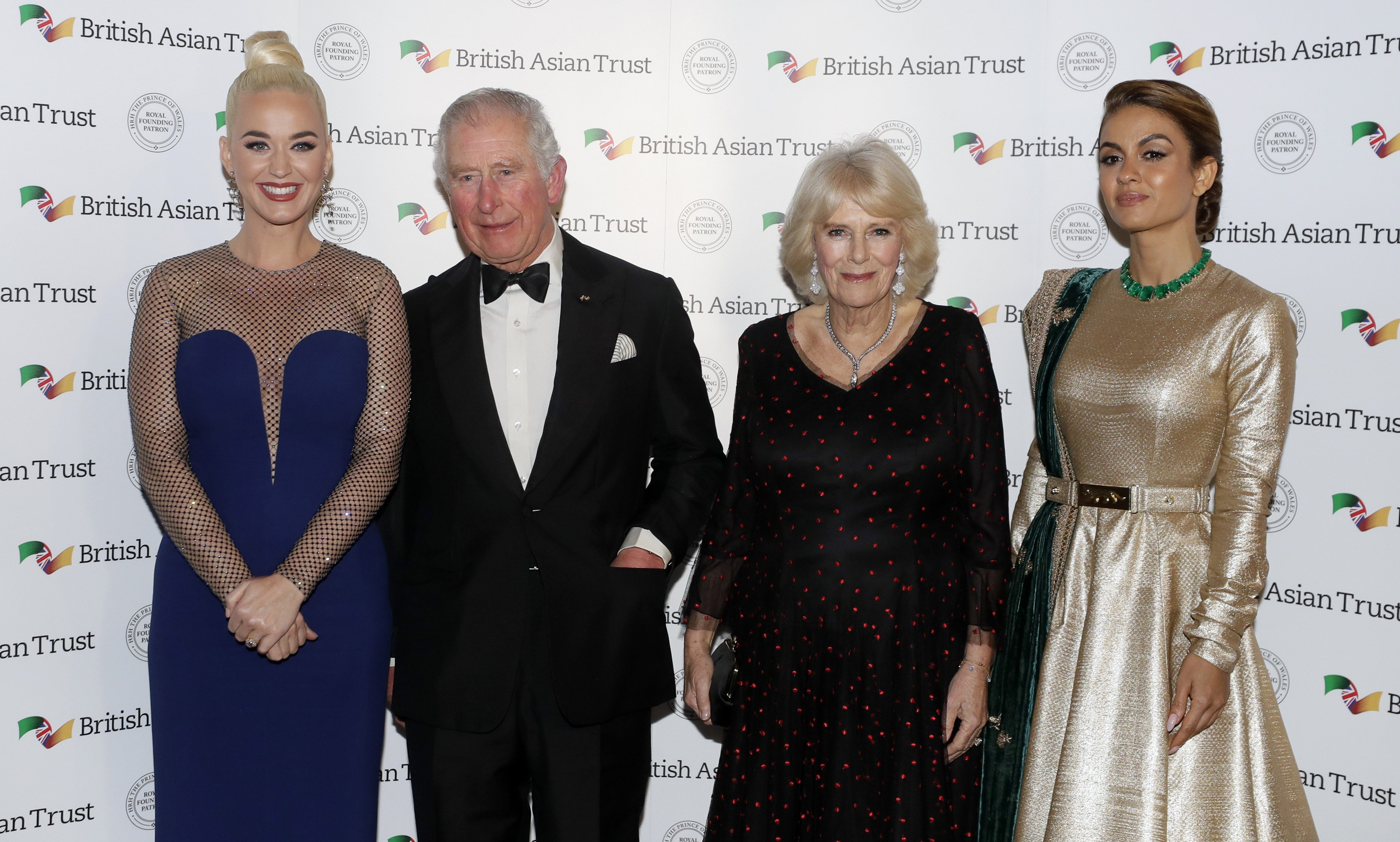 Prince Charles and his wife Camilla, with Katy Perry and Indian businesswoman Natasha Poonawalla at the British Asian Trust on February 4, 2020, in London, England. | Source: Getty Images.