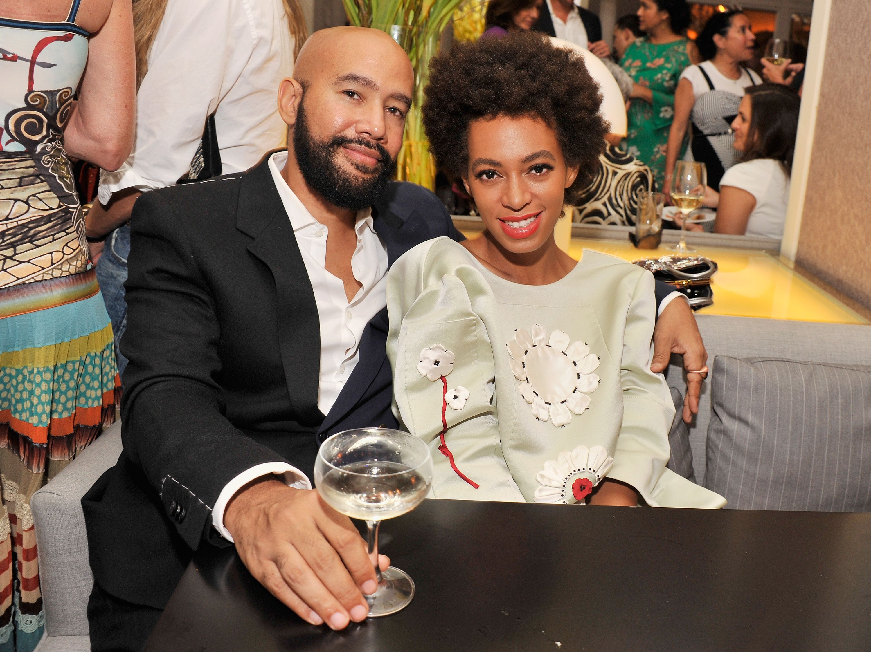 "Alan Ferguson and Solange Knowles during the after party for the New York Premiere of ""Blue Jasmine"" at Harlow on July 22, 2013 in New York City. 