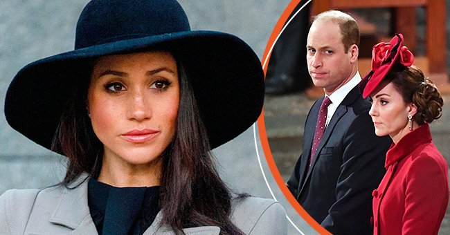 Pictures of Meghan Markle, Prince William, and his wife, Kate Middleton | Photo: Getty Images