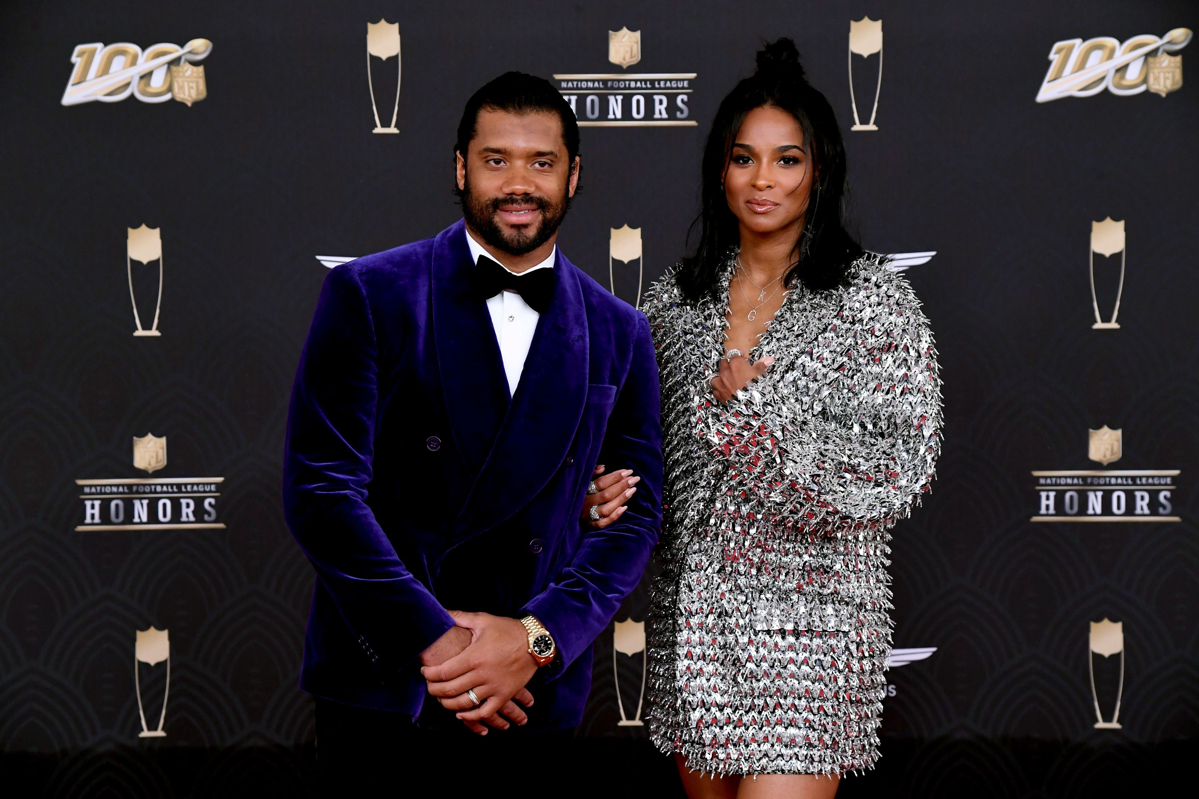 Russell Wilson and Ciara attend the 9th Annual NFL Honors at Adrienne Arsht Center on February 01, 2020 | Photo: Getty Images
