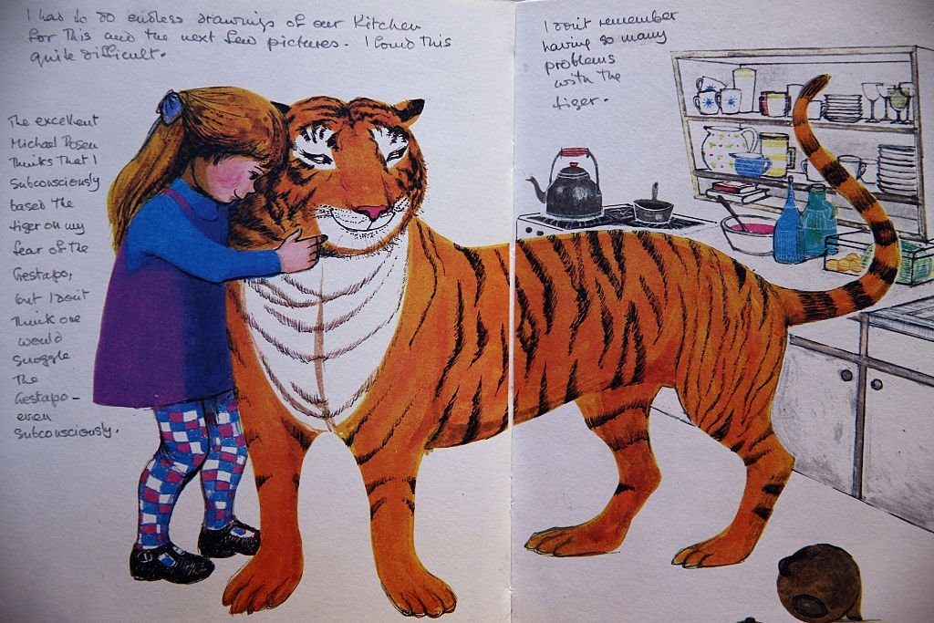 An annotated page from 'The Tiger who came to tea' by Judith Kerr is displayed at Sotheby's auction House in London in 2014. Photo: Getty Images