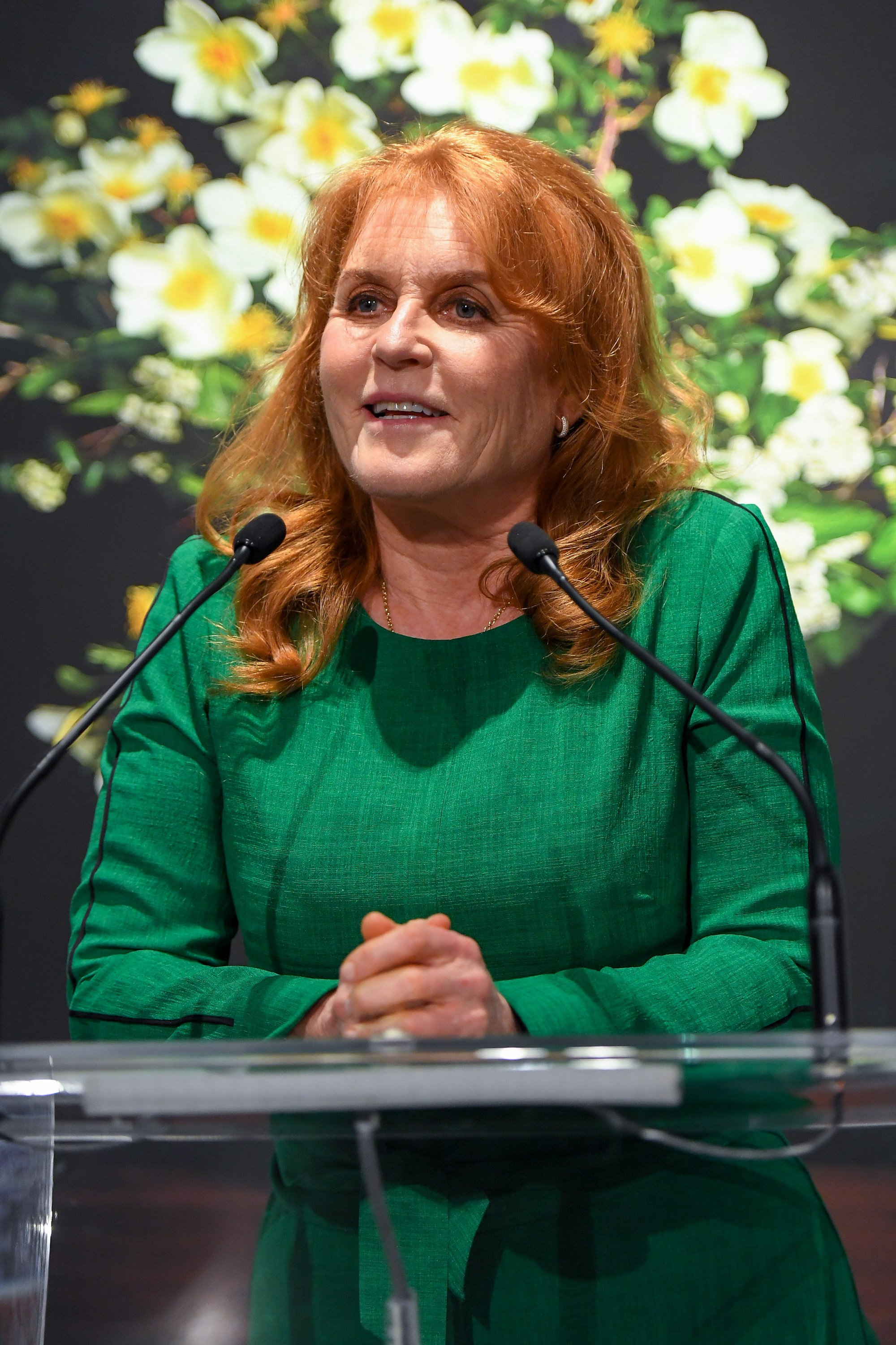"""Duchess of York, Sarah Ferguson attends the T.M. Glass Solo Exhibition """"The Audible Language Of Flowers"""" Opening at Onsite Gallery on May 08, 2019 in Toronto, Canada. 