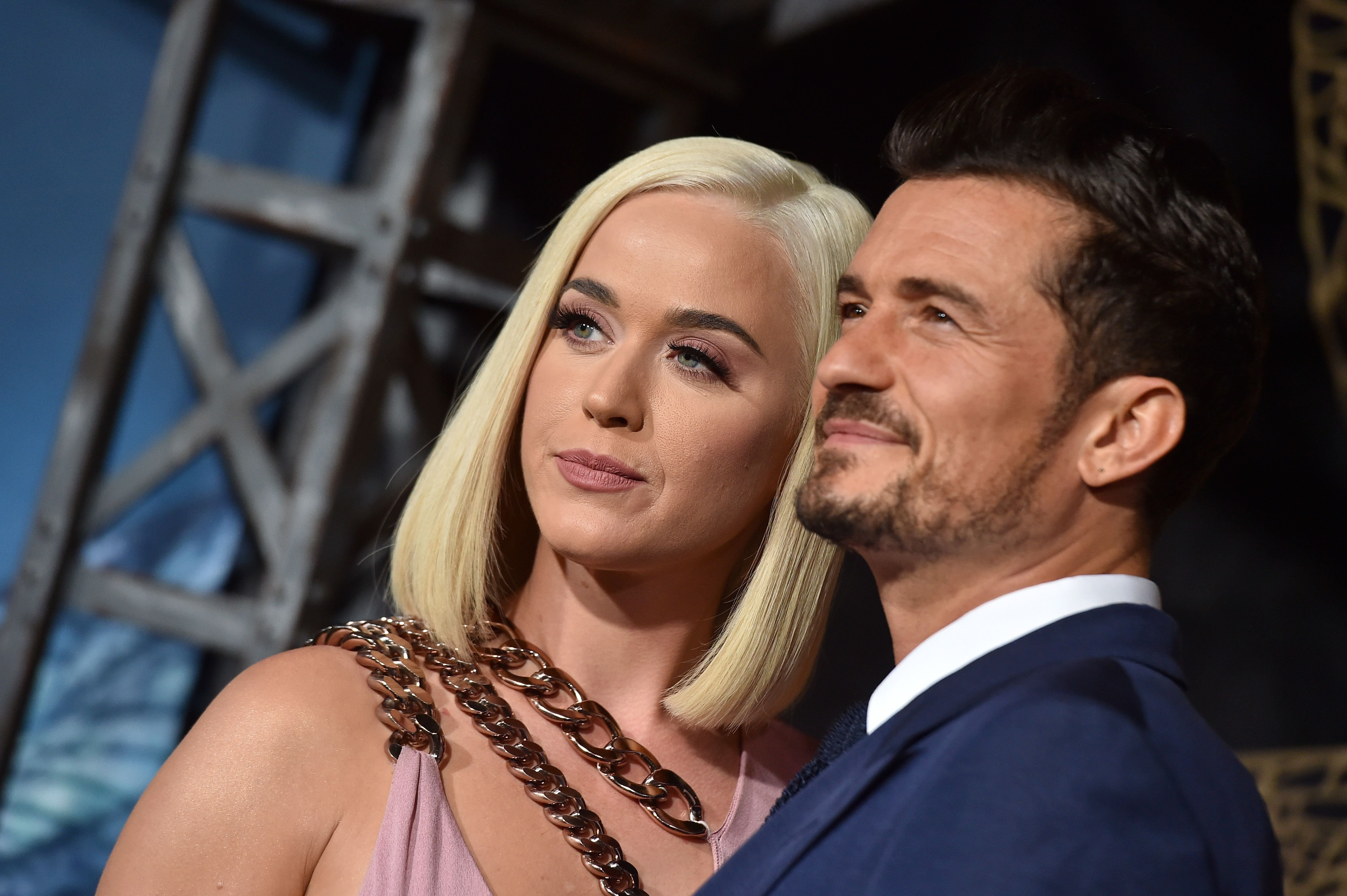 """Katy Perry and Orlando Bloom at the LA premiere of Amazon's """"Carnival Row"""" at TCL Chinese Theatre on August 21, 2019 in Hollywood, California 